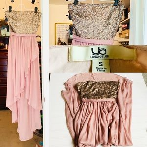 EUC Ya Los Angeles Strapless Sequined Formal Dress